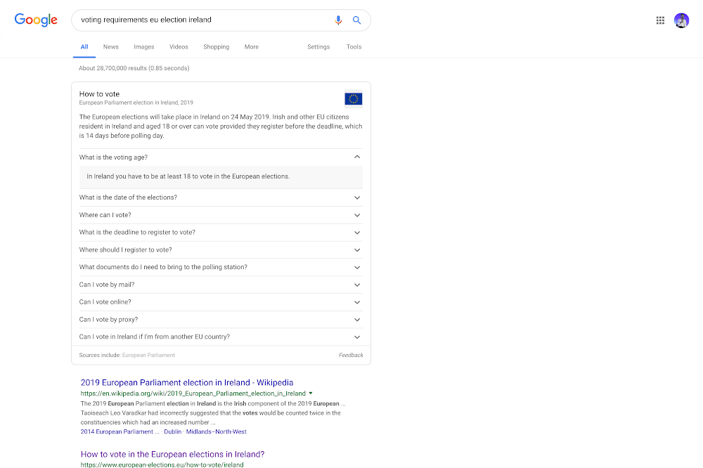 Example of voting requirements that appear in Search