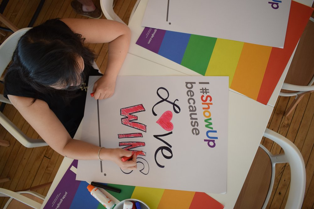 LGBTQ+ Pride sign at Google